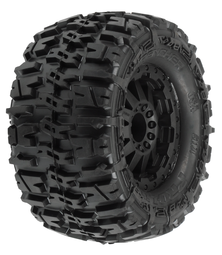 "Pro-Line Trencher 2.8"" (Traxxas Style Bead) All Terrain Tires Mounted on F-11 Black Rear Wheels (2) for Electric Stampede/Rustler Rear"