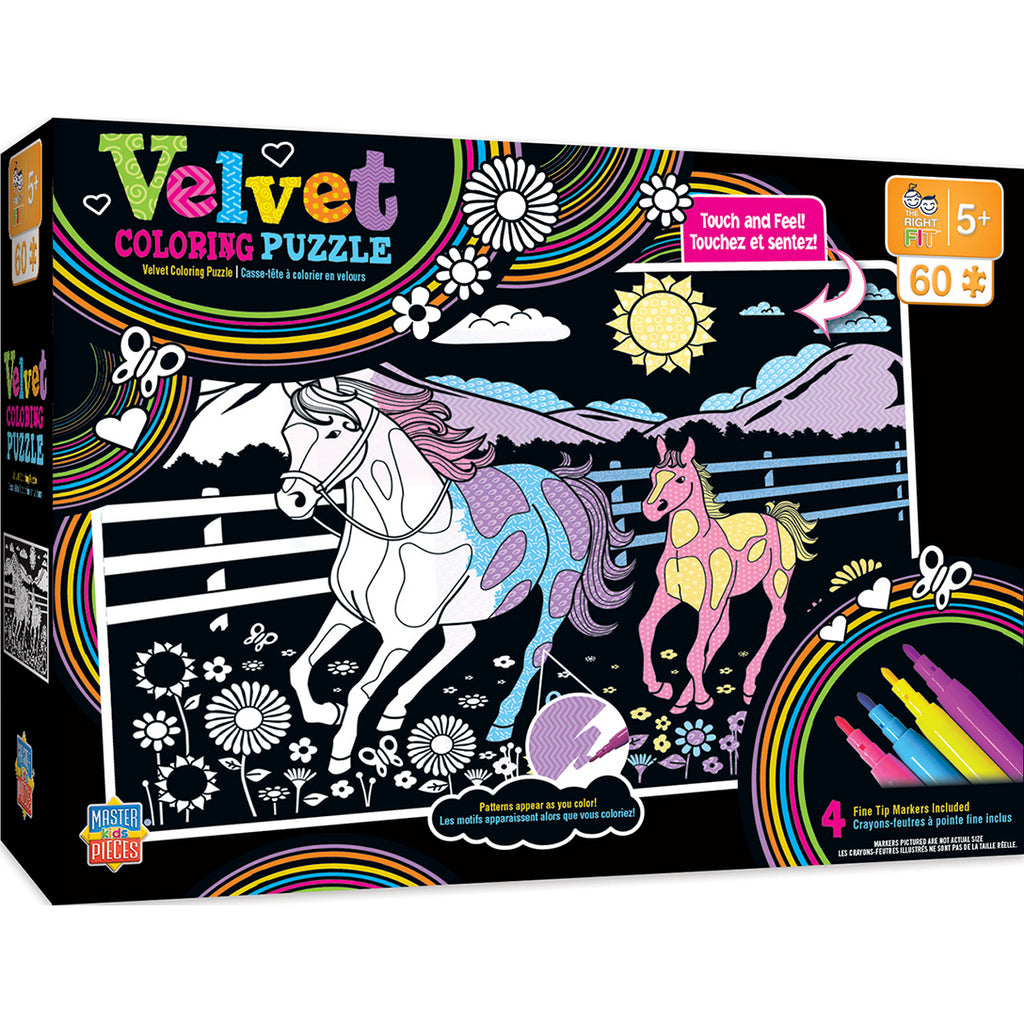 Masterpieces Puzzle Velvet Coloring of Horse and Pony Right Fit - 60 Piece Puzzle MST11708