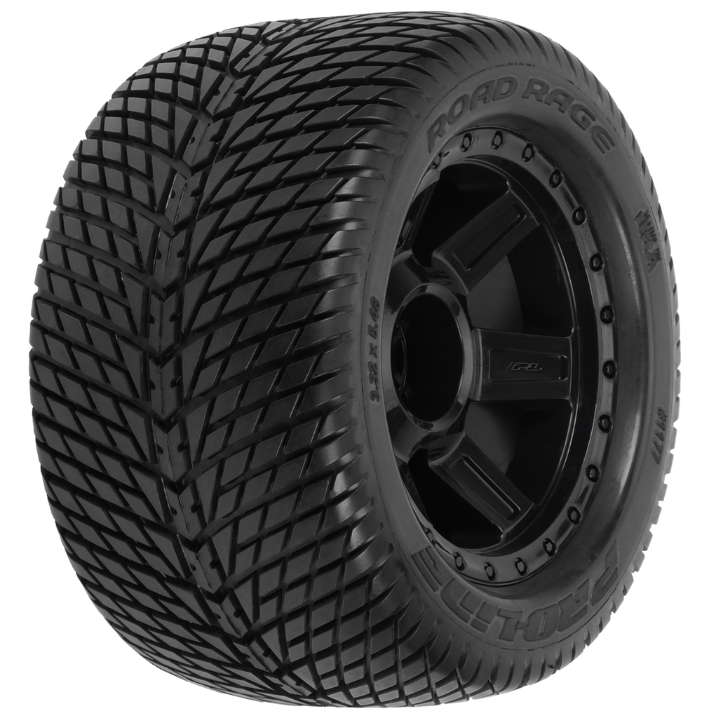 "Pro-Line Road Rage 3.8"" (Traxxas Style Bead) Street Tires Mounted on Desperado Black 1/2"" Offset 17mm Wheels (2) for 17mm MT Front or Rear"