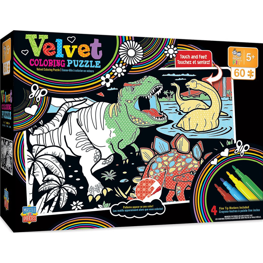 Masterpieces Puzzle Velvet Coloring Right Fit - Dinosaurs 60 Piece Jigsaw Puzzle MST11808
