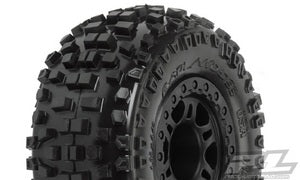 "Pro-Line Badlands SC 2.2"" / 3.0"" M2 (Medium) Tires Mounted on Split Six Black Front Wheels (2) for Slash PRO1182-21"