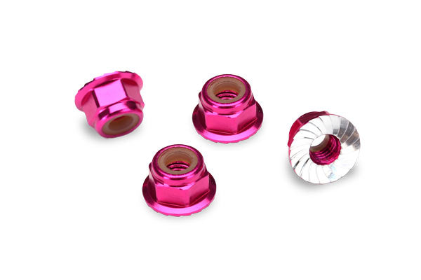Traxxas Nuts Aluminum Flanged Serrated (4mm) (Pink-Anodized) (4) TRA1747P