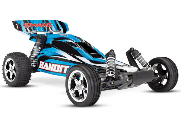 Traxxas Bandit: 1/10 Scale Off-Road Buggy RTR w TQ 2.4 Radio System and XL-5 E.S.C. (Fwd/Rev). Includes: 7-Cell NiMH 3000mAh Traxxas® Battery TRA24054-1-BLUEX