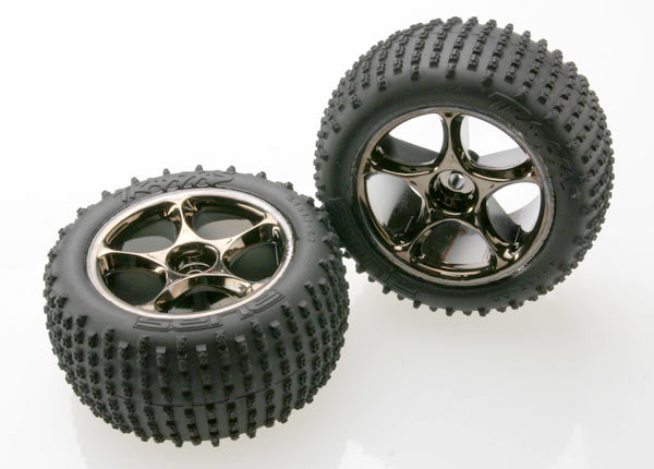 Traxxas Tires & Wheels, Assembled (Tracer 2.2' Black Chrome Wheels, Alias 2.2' Tires) (2) (Bandit Rear, Medium Compound w Foam Inserts) (TSM Rated) TRA2470A