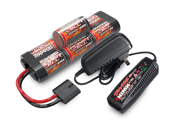 Traxxas Battery/Charger Completer Pack (Includes #2969 2-Amp NiMH Peak Detecting AC Charger (1), #2926X 3000mAh 8.4V 7-Cell NiMH Battery (1)) TRA2984