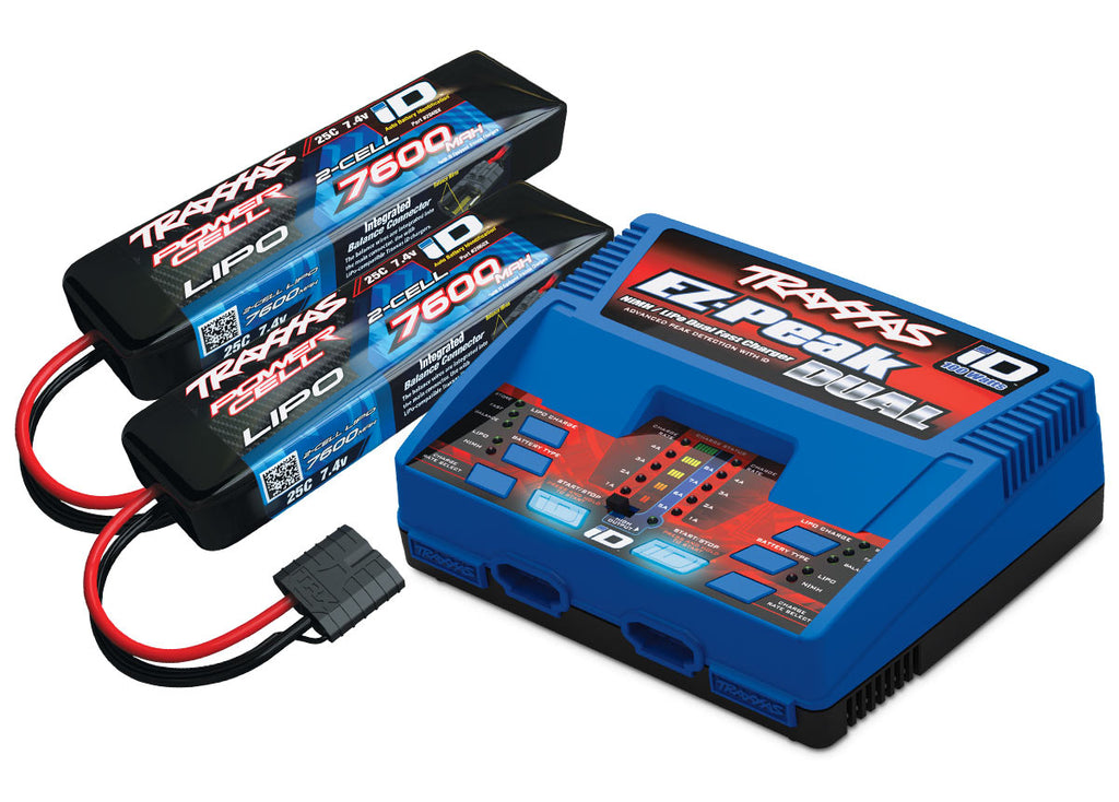 Traxxas Battery Charger Completer Pack Dual iD Charger/7600mAh 7.4V 2-cell 25C LiPo battery (2) TRA2991