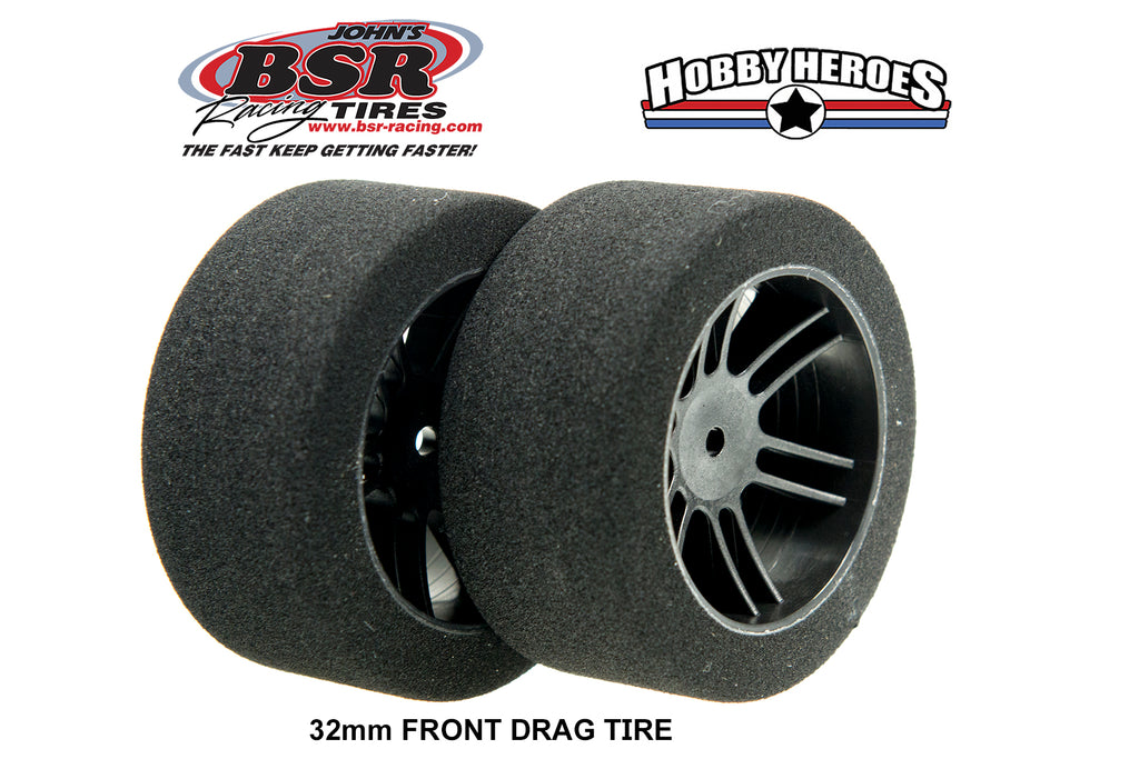 BSR FOAM TIRES 1/10 DRAG TIRES 32mm 30 SHORE Black Rim BSRF3230