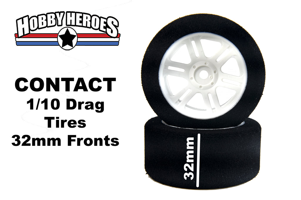 Contact 1/10 Front 32mm 30 Shore Nylon Rim DRAG Foam Tires CONJD30FA