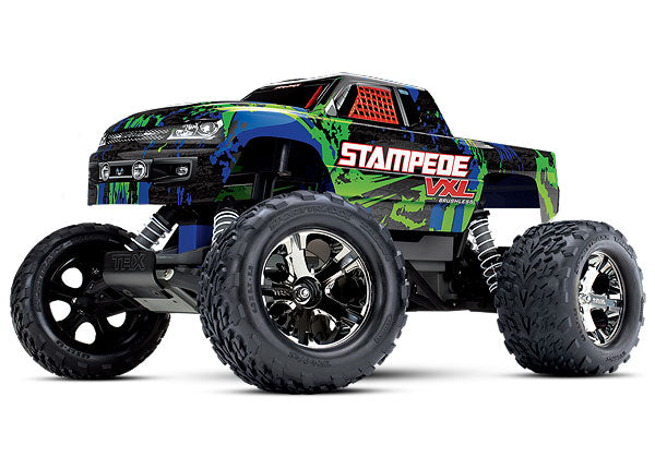Traxxas Stampede VXL: 1/10 Scale Monster Truck. Ready-to-Race® with TQi Traxxas Link Enabled 2.4GHz Radio System, Velineon VXL-3s Brushless ESC (Fwd/Rev), and Traxxas Stability Management (TSM). TRA36076-4-GRN