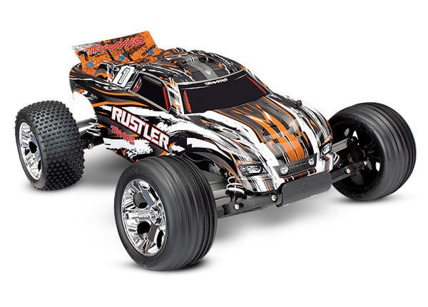 Traxxas Rustler 1/10 Scale Stadium Truck RTR w TQ 2.4GHz Radio System and XL-5 ESC (Fwd/Rev). Includes: 7-Cell NiMH 3000mAh Traxxas Battery TRA37054-1-ORNG