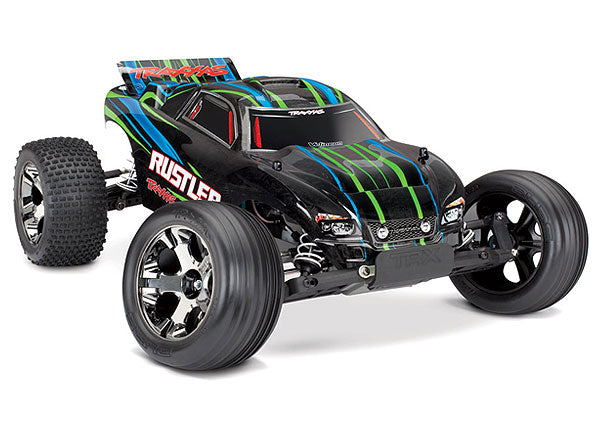 Traxxas Rustler VXL: 1/10 Scale Stadium Truck with TQi Traxxas Link Enabled 2.4GHz Radio System & Traxxas Stability Management (TSM) TRA37076-4-GRN