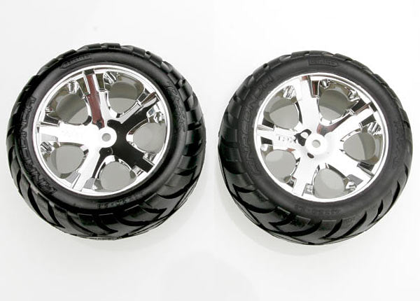 Traxxas Tires & Wheels, Assembled, Glued (All Star Chrome Wheels, Anaconda® Tires, Foam Inserts) (2WD Electric Rear) (1 Left, 1 Right) TRA3773