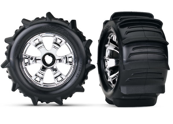 Traxxas Tires & Wheels Assembled (Geode Chrome Wheels, Paddle Tires, Foam Inserts) (2) (TSM rated) TRA5672