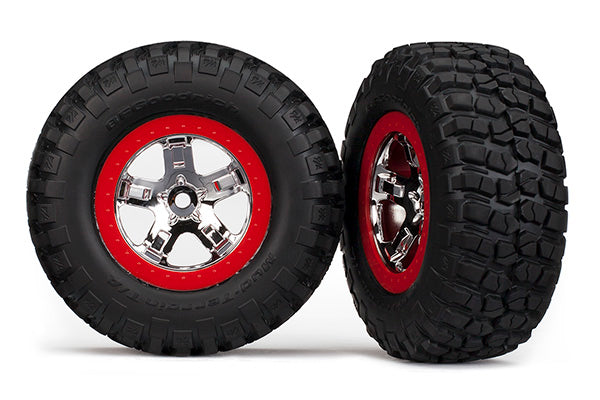 Traxxas Tires & Wheels, Assembled, Glued (SCT Chrome, Red Beadlock Style Wheels, BFGoodrich® Mud-Terrain™ T/A® KM2 Tires, Foam Inserts) (2) (2WD Front) TRA5869