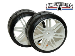 GRP Tyres 1:5 TC W02 REVO XP1 Soft Mounted on White Wheel 1 Pair GRPGWH02-XP1