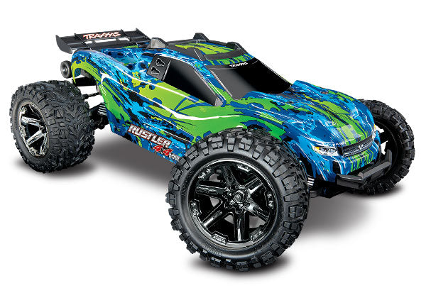 Traxxas Rustler 4X4 VXL: 1/10 Scale Stadium Truck. Ready-to-Race® with TQi Traxxas Link Enabled 2.4GHz Radio System, Velineon VXL-3s Brushless ESC (fwd/rev), and Traxxas Stability Management (TSM) TRA67076-4-GRN