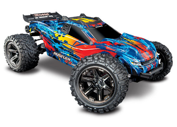 Traxxas Rustler 4X4 VXL: 1/10 Scale Stadium Truck. Ready-to-Race® with TQi Traxxas Link Enabled 2.4GHz Radio System, Velineon VXL-3s Brushless ESC (fwd/rev), and Traxxas Stability Management (TSM) TRA67076-4-RED
