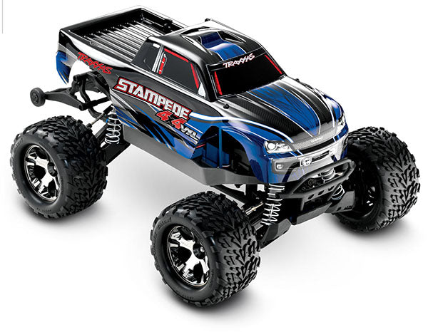 Traxxas Stampede 4X4 VXL: 1/10 Scale Monster Truck RTR w TQi Traxxas Link™ Enabled 2.4GHz Radio System, Velineon® VXL-3s Brushless ESC (fwd/rev), TSM TRA67086-4-BLUE