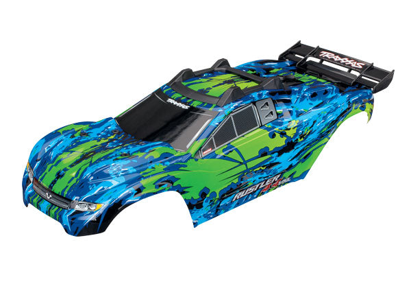 Traxxas Body, Rustler 4X4 VXL, Green/ Window, Grill, Lights Decal Sheet (Assembled with Front & Rear Body Mounts and Rear Body Support for Clipless Mounting TRA6717G