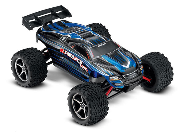 Traxxas E-Revo VXL: 1/16 Scale Electric 4WD Racing Monster Truck. Ready-To-Race® with TQi Traxxas Link Enabled 2.4GHz Radio System, Velineon VXL-3m Brushless ESC (Fwd/Rev), Traxxas Stability Management (TSM). Includes: 6-Cell NiMH 1200mAh TRA71076-3-BLUE