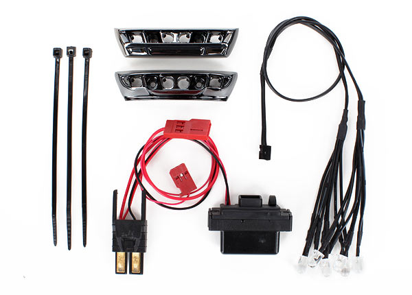 Traxxas LED Light Kit, 1/16 E-Revo (Includes Power Supply, Front & Rear Bumpers, Light Harness (4 Clear, 4 Red), Wire Ties) TRA7185