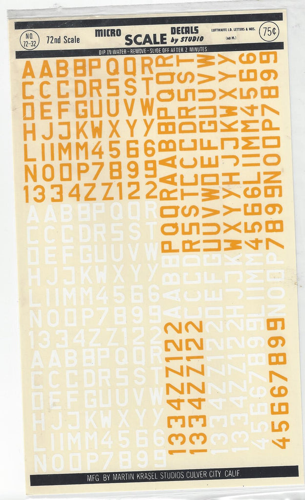 Micro Scale 1/72 Luftwaffe Id Letters & Nos 60mm MSD7232