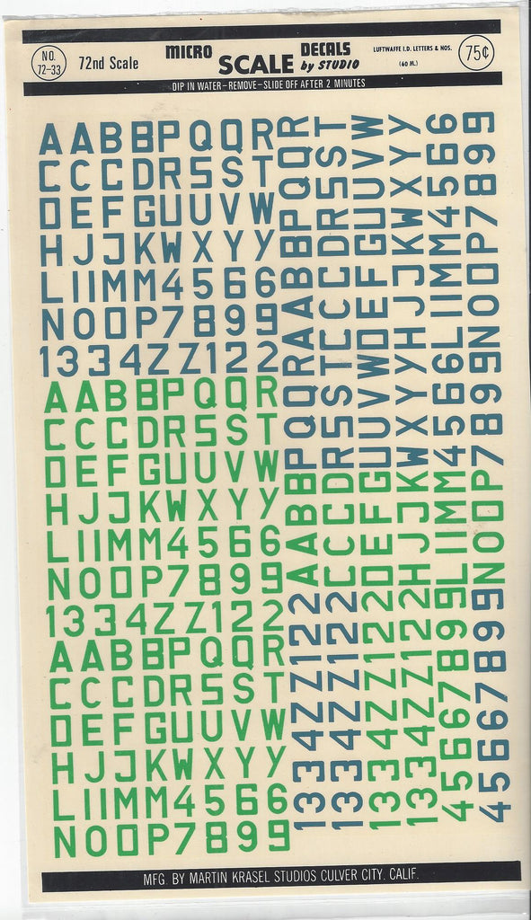 Micro Scale 1/72 Luftwaffe Id Letters & Nos 60mm MSD7233