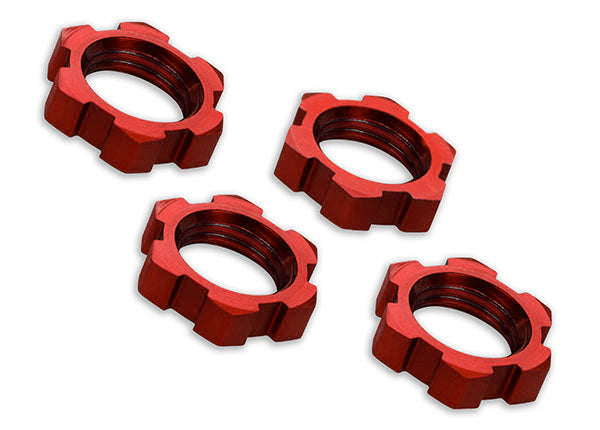 Traxxas Wheel Nuts Splined 17mm Serrated (Red-Anodized) (4) TRA7758R
