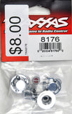 Traxxas Center Caps, Wheel (Chrome) (4)/ Decal Sheet (Requires #8255A Extended Stub Axle) TRA8176