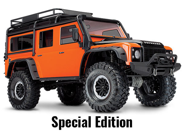 Traxxas TRX-4 Scale and Trail Crawler with Land Rover® Defender® Body: 1/10 Scale 4WD Electric Trail Truck. Ready-to-Race® with TQi Traxxas Link Enabled 2.4GHz Radio System, XL-5 HV ESC (Fwd/Rev), and Titan 550 Motor. TRA82056-4-ORNG