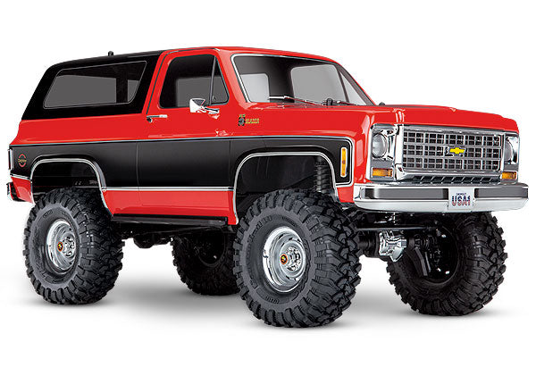 Traxxas TRX-4® Scale and Trail® Crawler with 1979 Chevrolet Blazer Body: 1/10 Scale 4WD Electric Truck. Ready-to-Drive® with TQi Traxxas Link™ Enabled 2.4GHz Radio System, XL-5 HV ESC (fwd/rev), and Titan® 550 motor. TRA82076-4-RED