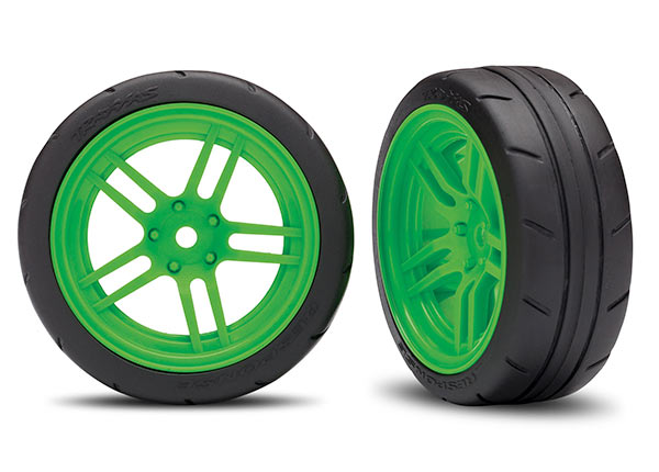 Traxxas Tires and Wheels, Assembled, Glued (Split-Spoke Green Wheels, 1.9' Response Tires) (Front) (2) (VXL Rated) TRA8373G