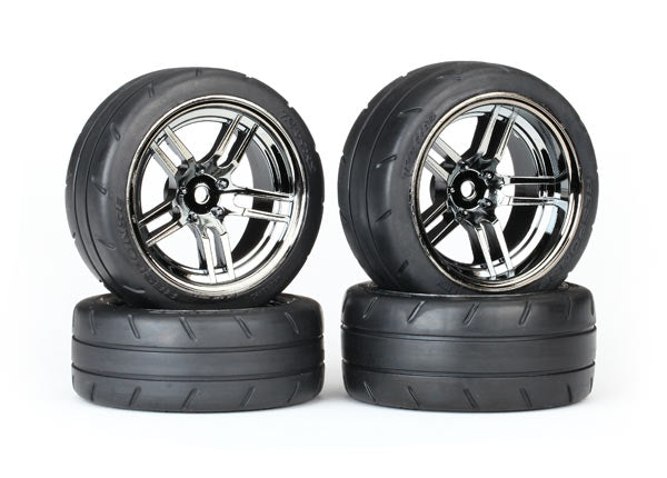 Traxxas Tires & Wheels, Assembled, Glued (Split-Spoke Black Chrome Wheels, 1.9' Response Tires, Foam Inserts) (Front (2), Rear (Extra Wide) (2)) (VXL Rated) TRA8375