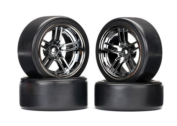 Traxxas Tires/Wheels Assembled Glued (Split-Spoke Black Chrome Wheels 1.9' Drift Tires) (Front/Rear) TRA8378