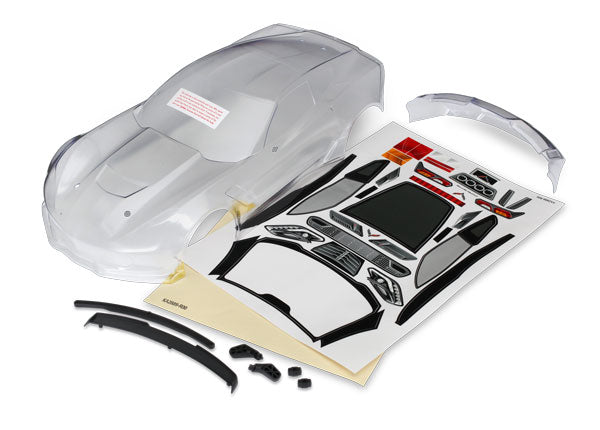 Traxxas Body, Chevrolet Corvette Z06 (Clear, Requires Painting)/ Decal Sheet (Includes Side Mirrors, Spoiler, & Mounting Hardware) TRA8386
