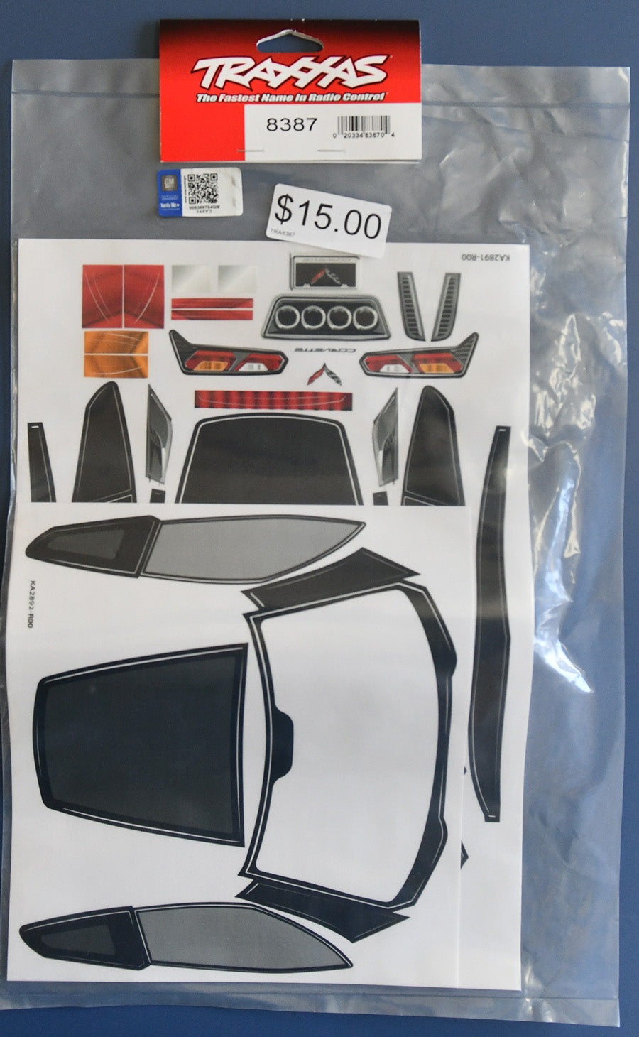 Traxxas Decal Sheets, Chevrolet Corvette Z06 TRA8387