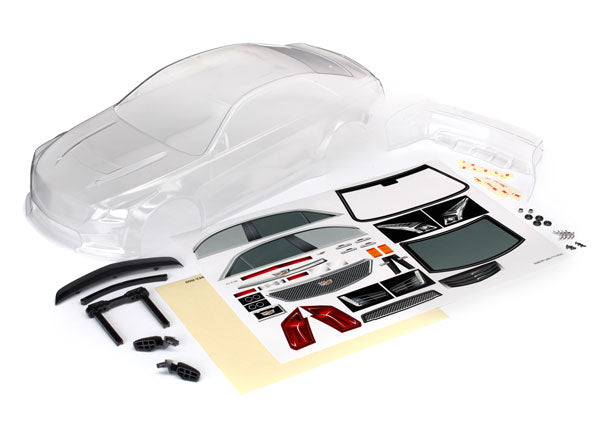 Traxxas Body, Cadillac CTS-V (Clear, Requires Painting)/ Decal Sheet (Includes Side Mirrors, Spoiler, & Mounting Hardware) TRA8391