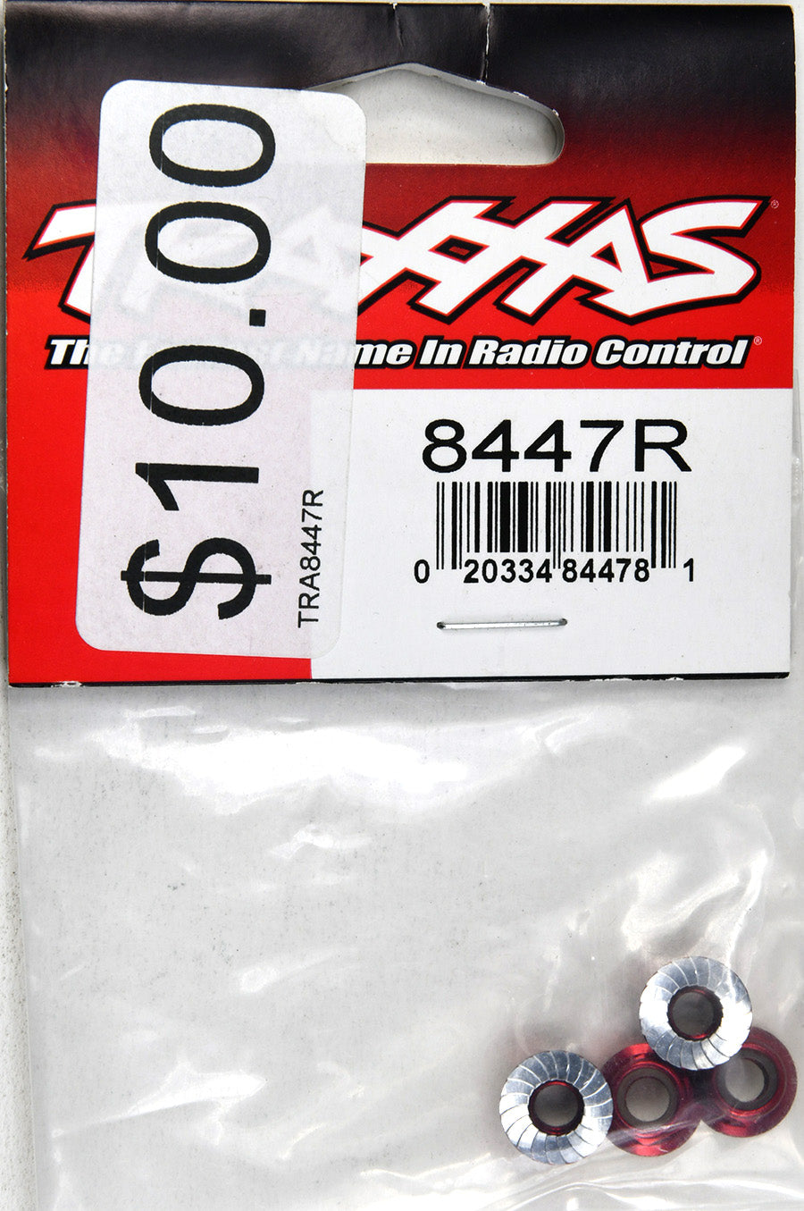 Traxxas Nuts, 5mm Flanged Nylon Locking (Aluminum, Red-Anodized, Serrated) (4) TRA8447R
