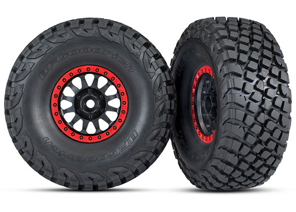 Traxxas Tires and Wheels, Assembled, Glued (Method Race Wheels, Black w Red Beadlock, BFGoodrich® Baja KR3 Tires) (2) TRA8474