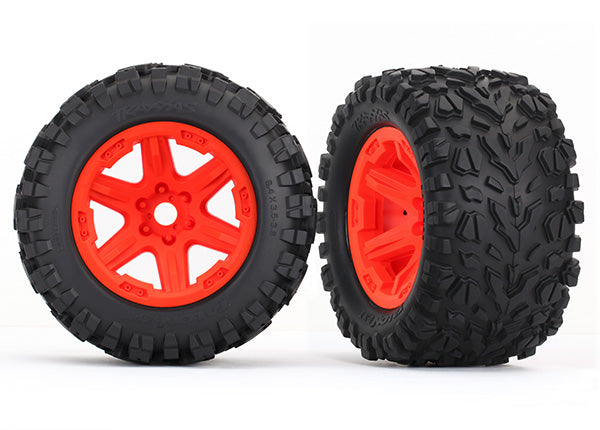 Traxxas Tires & Wheels, Assembled, glued (Orange Wheels, Talon EXT Tires, Foam Inserts) (2) (17mm Splined) (TSM Rated) TRA8672A