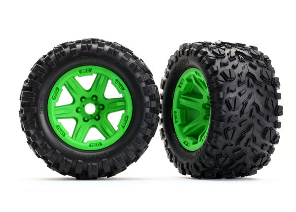 Traxxas Tires & Wheels, Assembled, Glued (Green Wheels, Talon EXT Tires, Foam Inserts) (2) (17mm Splined) (TSM Rated) TRA8672G