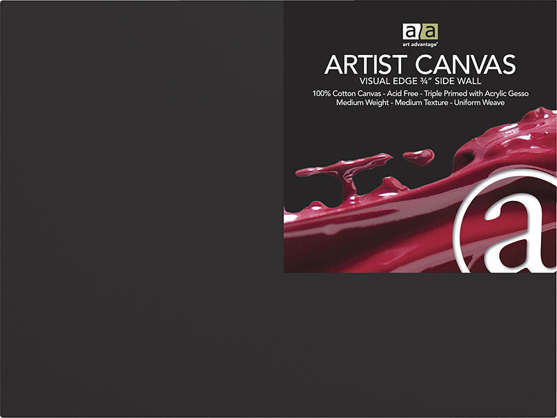 "ART ADVANTAGE Black 16"" x 20"" 3/4"" Thick Artist Canvas ART1252-16"