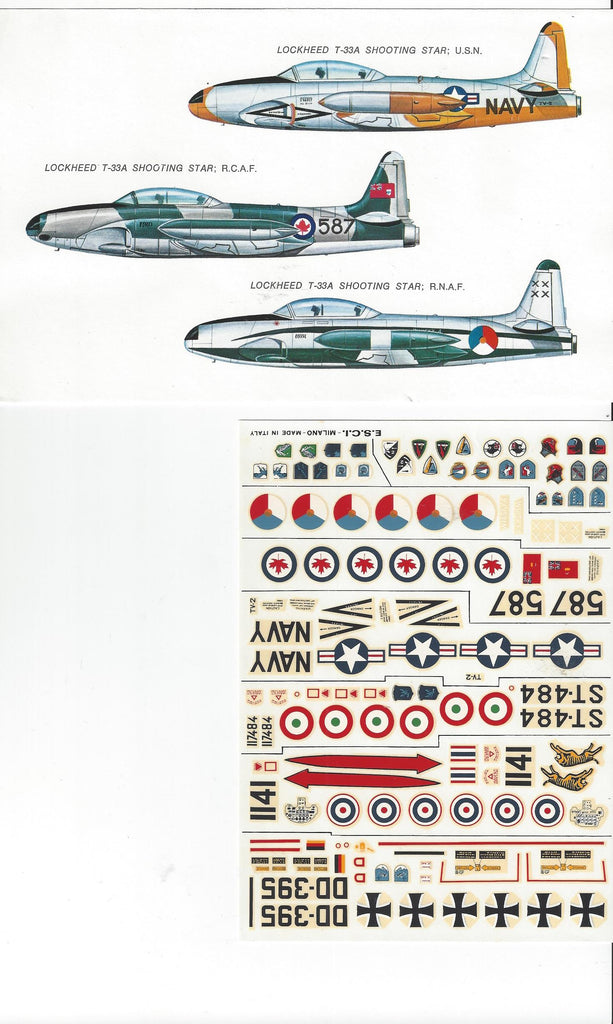ESCI Lockheed T33 Shooting Star DECALS 1/72