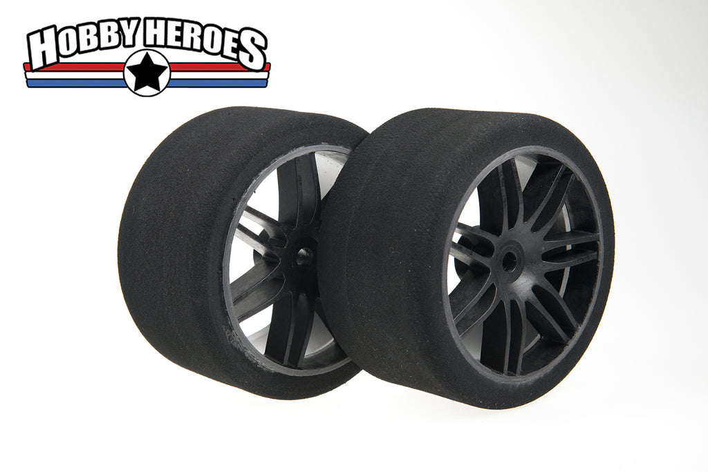 FOAM 5th SCALE TIRES 38 SHORE ON BLACK SPOKE RIMS HHBSR38F125