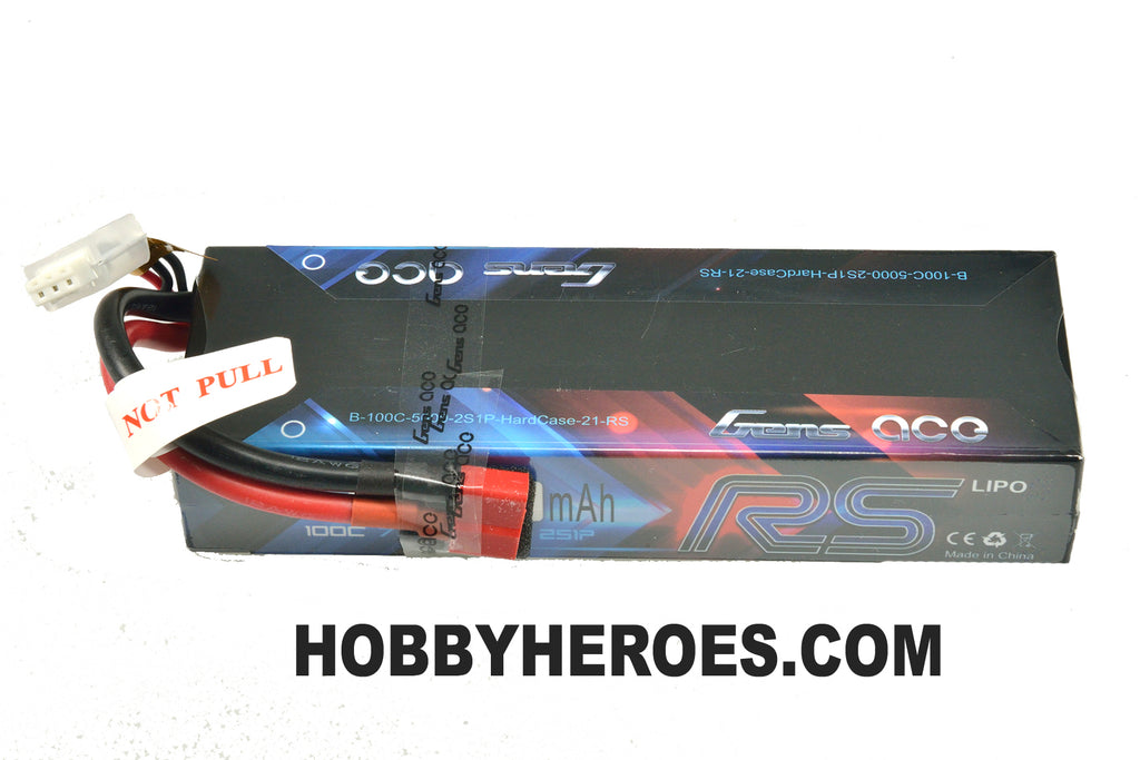 Gens ace 5000MAH 7.4V 100C 2S1P HARD CASE Lipo Battery #21 RACING SERIES GAB100C50002S1PHARDC21RS