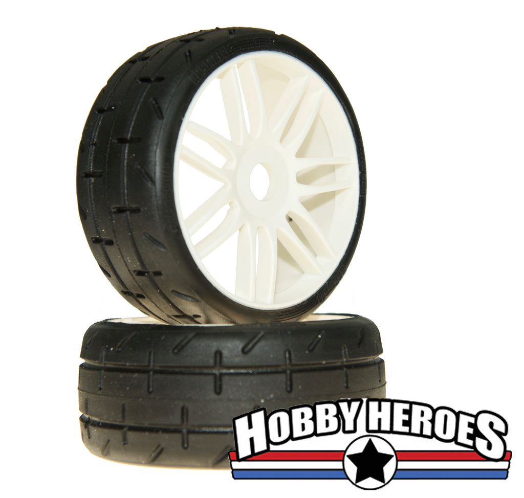 GRP Tyres 1:8 GT Treaded S7 Medium Hard White Spoked Belted On-Road Rubber Tires GRPGTH01-S7
