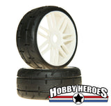 GRP GTH01-S2 1:8 GT Treaded S2 XSoft White Spoked Belted Rubber Tires
