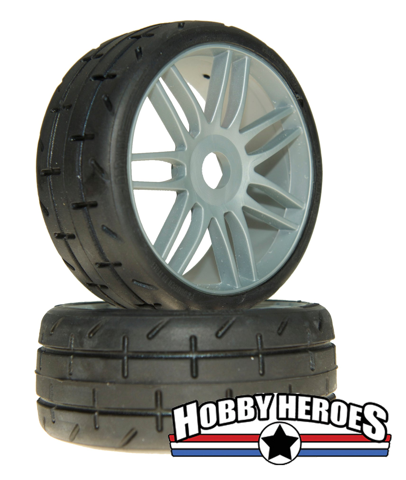 GRP GTK01-S5 1:8 GT Treaded S5 Medium Silver Spoked Belted Rubber Tires