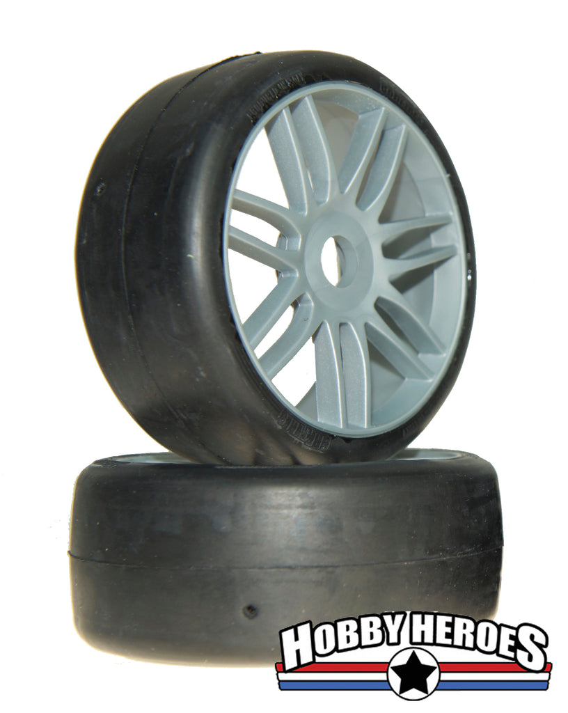 GRP Tyres 1:8 GT Slick S2 XSoft Silver Spoked Belted On-Road Rubber Tires GRPGTK02-S2
