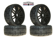 GRP 1:8 GT Treaded S3 Soft Black Spoked Belted Rubber Tires 4 pieces GRPGTX01-S3x2
